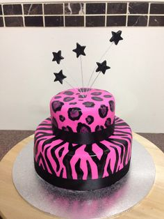 Animal print Fluro pink and black birthday cake