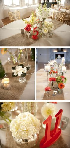 Love the pops of color with neutral decor on burlap.