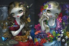 Flora and Fauna set of TWO BIG art prints 12x16 by by strangeling, $40.00