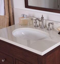 vanity top only, solid white w/brown vanity subway tile faucet height & further back from sink - does it give more sink room, less splash ?