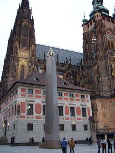 Obelisk in the third castle courtyard of Prague Castle, Czech Republic