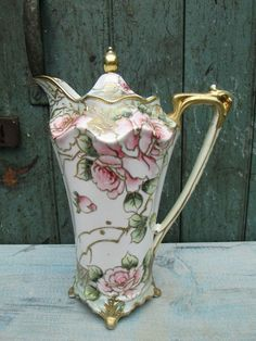 1890's Antique Nippon Hand Painted Moriage Chocolate Pot - Gold - Roses