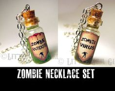 Zombie Friendship Necklace Set - Zombie Antidote & Zombie Virus Cork Bottle Glass Necklace - Best Friend Necklace - Halloween Jewelry