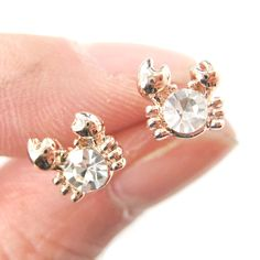Tiny Crab Sea Creatures Shaped Stud Earrings in Rose Gold with Rhinestones