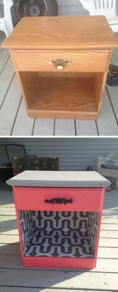 Use paint and wallpaper to transform an old night stand