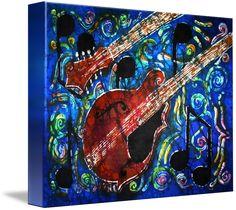"""Music Mandolin"" by Sue Duda Framed Wall Art, Framed Art Prints, Fine Art Prints, Canvas Prints, Family Canvas, Batik Art, Art Terms, Mandolin, Custom Canvas"