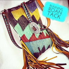 Authentic Turkish Kilim Cross Body Handbag with Fringe and Turquoise Buckstitch by Running Roan Tack