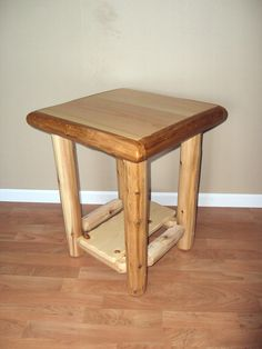 Log End Table / Nightstand W/ Shelf - Furniture Rustic Cedar Home Cabin