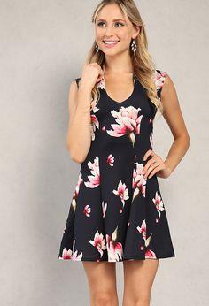 Floral Printed V-Neck Flare Dress | Shop New Arrivals at Papaya Clothing