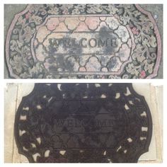 Spray-painted welcome mat All Black Everything, Welcome Mats, Favorite Color, Projects, Crafts, All Black, Log Projects, Blue Prints, Manualidades