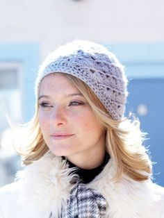 Free Pattern - Soft openwork swirls bring out the shine of Patons Lace Sequin in this stunning #crochet hat.