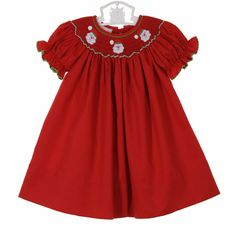 6d9718283 Petit Bebe by Anavini red bishop smocked dress with Santa embroidery,baby  girls red smocked Christmas dress,toddler girls red smocked Christmas dress  ...