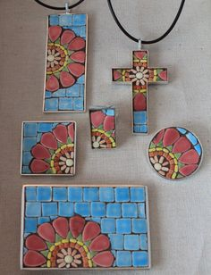 Square Mosaic Brooch Pink Mosaic Flower with by SallyMaysMosaicArt