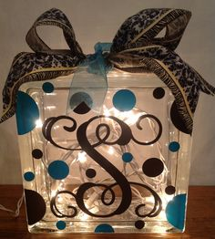 Customized LIGHTED GLASS BLOCK with Initial, Name & Polka Dots by Pam's Polka Dots, $25.00 + shipping