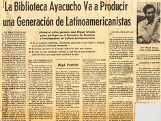 """#BAyacucho41Años """"La Biblioteca Ayacucho va a producir una generación de Latinoamericanistas"""" Artículo prensa, 1975."""