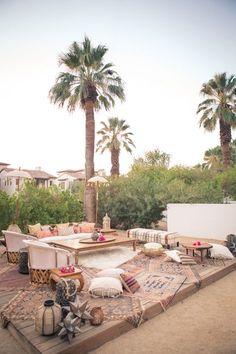 bohemian garden space. http://www.100layercake.com/blog/2014/11/05/korakia-dinner-party-wedding-artist-collective-palm-springs-venue/?utm_content=buffer980b4&utm_medium=social&utm_source=pinterest.com&utm_campaign=buffer #partytime #outdoors