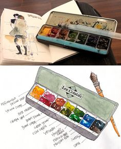 daily sketch | Flickr - Photo Sharing/ Park Sunga...love the little watercolor box. Great choice of colors too! Rose Madder, Sepia and Indigo are some of my faves!