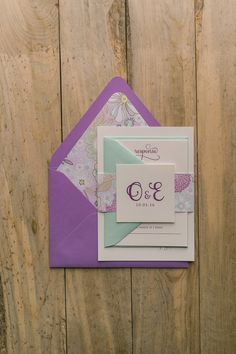 Lavender and Mint Letterpress Floral Wedding Invitations by Just Invite Me