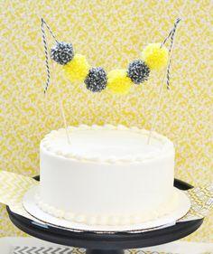 Yarn Pom Pom Cake Bunting  Garland Baby Shower by JillMadeThis, $11.00