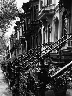 Stoops on 19th century Brooklyn row houses by Karen  Tweedy-Holmes.