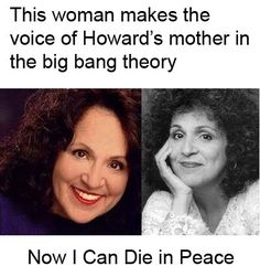 Carol Ann Susi, the voice of Howard Wolowitz's mom on The Big Bang Theory, has passed away. She was 62 years old. Big Bang Theory, The Big Bang Theroy, Carol Ann Susi, The Meta Picture, Punk, Bigbang, Knock Knock, The Funny, Make Me Smile