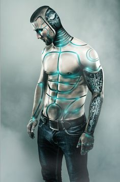 Create a Male Cyborg Photo Manipulation Tutorial using various methods and non destructive technique on Photoshop.