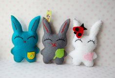 Set of 3 dreaming bunnies hand sewn cute felt  plush by Mielamiela, $14.55