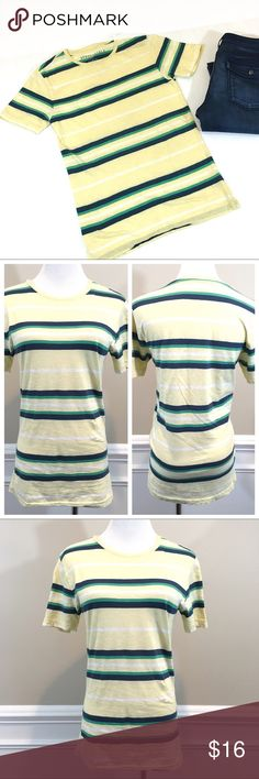 """Aeropostle Striped Yellow Tee (XS) 🔹100% Coton 🔹Yellow with green, navy, and white stripes 🔹Round neckline  🔹Chest: 33"""" 🔹Waist: 31"""" 🔹Length: 25.5"""" Aeropostale Tops Tees - Short Sleeve"""
