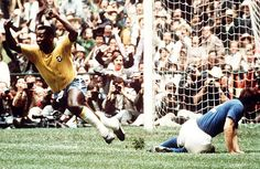 """PELE celebrates Brazil's opening goal of the 1970 World cup final.----''I told myself before the game, he's made of skin and bones just like everyone else, but I was wrong""""!! - said  Italian defender TARCISIO BURGNISH, pictured here ..."""