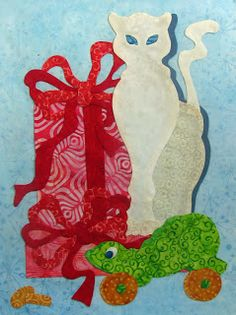 Christmas isn't complete without a few gifts. I love frogs so I just had to add an old fashioned pull toy to complete this quilt. Cat Quilt, Pull Toy, Applique Quilts, Quilt Blocks, Christmas Crafts, Sewing Projects, It Is Finished, Halloween, Quilting