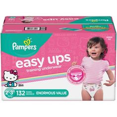 Pampers Easy Ups Girls' Training Pants Enormous Pack - Size - Pull Ups Diapers, Pampers Easy Ups, Huggies Diapers, Training Underwear, Diaper Sizes, Cotton Underwear, Training Pants, Diaper Bag Backpack, Hello Kitty