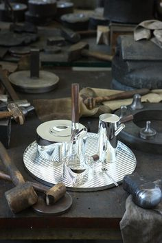 Tomas Alonso in the Studio of Wiener Silber Manufactur Decorative Objects, Decorative Accessories, Home Accessories, Bidermann, Silver Tea Set, Alonso, Copper And Brass, Earthenware, Contemporary Design