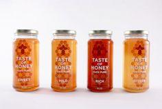 Branding for honey product. Includes: honey jars, wooden honey sampler, honey sticks and recipe cards. Honey Packaging, Beverage Packaging, Bottle Packaging, Food Packaging, Brand Packaging, Packaging Design, Product Packaging, Packaging Ideas, Bottle Labels