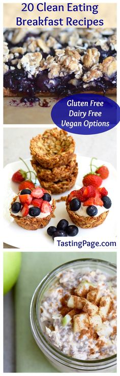 20 Clean Eating Breakfast Recipes - gluten free, dairy free, sugar free with vegan options. Start your day with a healthy meal to optimize your health | TastingPage.com
