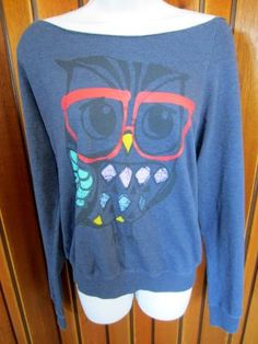 FOREVER 21 junior girl women plus size XL blue wide neck sweatshirt cartoon owl graphic design $8.50 free shipping