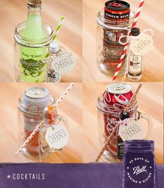 Make These XL Mason Jar Cocktail Gifts! Create cocktail mixers with the Ball Jar Mugs! Click through to find out how easy they are t. Mason Jar Gifts, Mason Jar Diy, Cocktail Gifts, Cocktail Mixers, Homemade Gifts, Diy Gifts, Mason Jar Cocktails, Wine Gift Baskets, Basket Gift