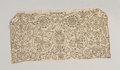 Coif Date: 1575–1600 Culture: British Medium: Linen embroidered with linen and metal thread, spangles; drawn thread work, satin, chain, and needle-lace stitches Dimensions: 8 1/2 x 16 inches (21.6 x 40.6 cm)