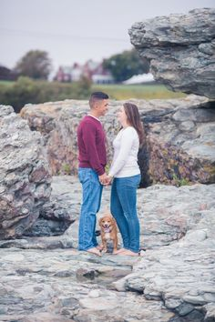 Charlie and Lisa's Engagement Pictures with their dog | The Newport Bride