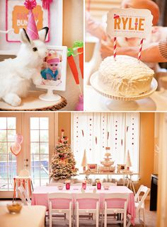 Snow Bunny First Birthday Party. So cute for a girl who has a winter birthday :)