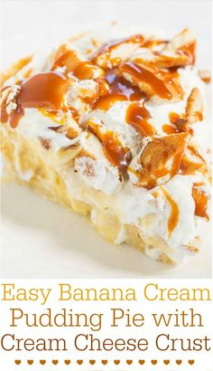 Easy Banana Cream Pudding Pie with Cream Cheese Crust - The no-bake filling tastes like a fluffy slice of heaven and the crust is no-roll!! An easy, goofproof pie that anyone can make in minutes!! #Easter #MothersDay