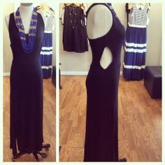JAX Look of the Day! This new black maxi from Lucy Love is anything but basic with its fun open sides! Add a bright beaded necklace for the perfect outfit to head down the shore this weekend! #jaxboutique #jaxhaddonfield #lookoftheday #downtownhaddonfield