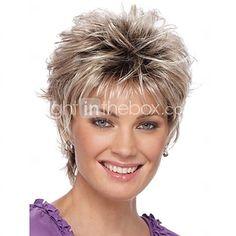 2016 nuevas mujeres cortas rizadas pelucas sintéticas peluca rubia pelo con raíces oscuras peluca de pelo ombre 2017 - $47885