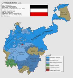 A counterfactual map of the German Empire in 2015.