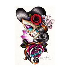 Sad Girl by Dave Sanchez Mexican Sugar Skull Canvas Art Giclee Print ❤ liked on Polyvore featuring home, home decor, wall art, mexican home decor, skull home accessories, skull wall art, skull home decor and canvas home decor