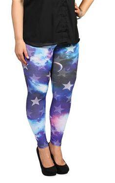 Deb Shops plus size #cosmic star print #leggings