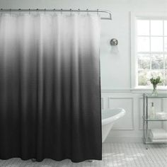 """Bounce Comfort Ombre 70"""" x 72"""" Waffle Weave 13-Piece Shower Curtain Set with Beaded Rings, Dark Grey - Walmart.com"""