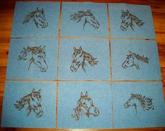 Set of 9 Western Horse Machine Embroidery Quilt Blocks
