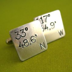 Personalized Latitude and Longitude Square Cufflinks - hand stamped in sterling silver, brass, copper, or aluminum - perfect groomsmen gifts...