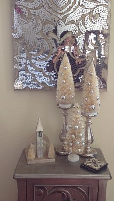 Christmas trees on candle sticks