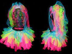 Neon Bride Tutu Set Neon Hen Party Raver 80s by tutufactory